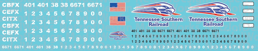 N Scale - Tennessee Southern Railroad Locomotive Decals