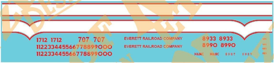 Everett Railroad Locomotive Decal Set
