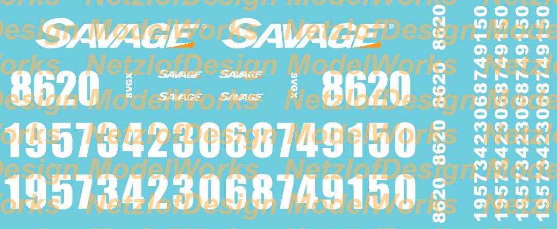Savage SVGX Locomotive Decal Set