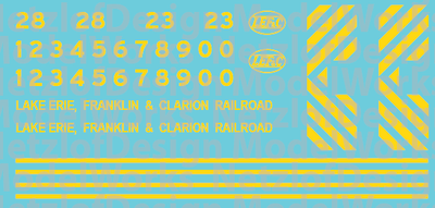 Lake Erie, Franklin & Clarion Switcher Decals - Bright Yellow (LEF)