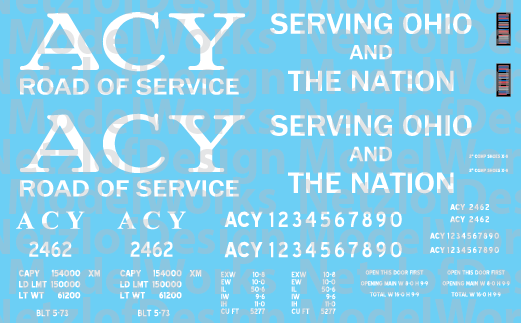 Akron, Canton & Youngstown Box Car Black/White Scheme Decals (ACY)