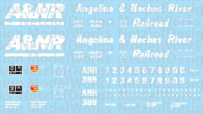 Angelina & Neches River Railroad (A&NR) Box Car Decal Set