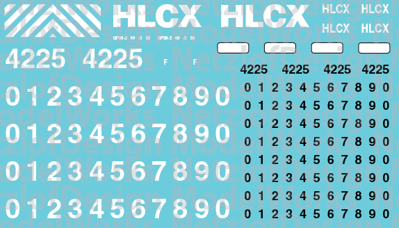 HO Scale - HLCX Lease Locomotive Decal Set