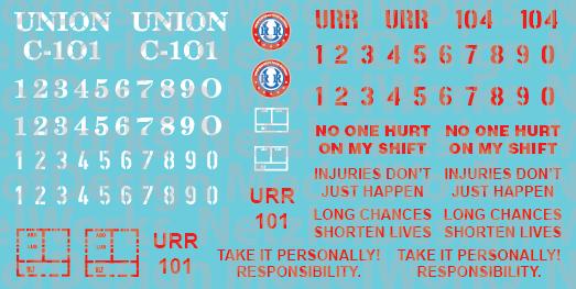 Union Railroad Caboose Decals