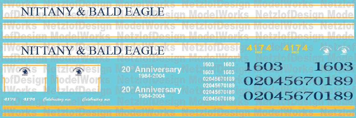 Nittany & Bald Eagle Locomotive Decal Set