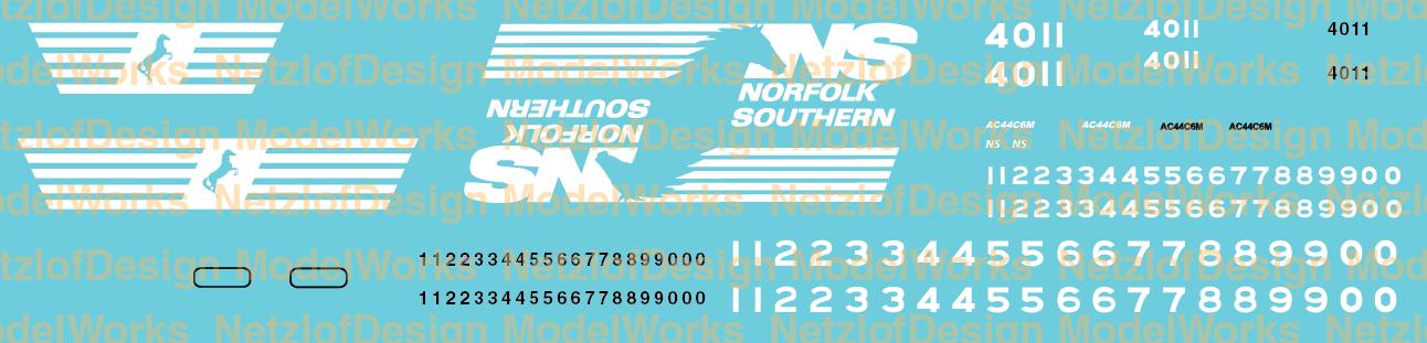 Norfolk Southern AC44C6M Horsehead Scheme Decal Set