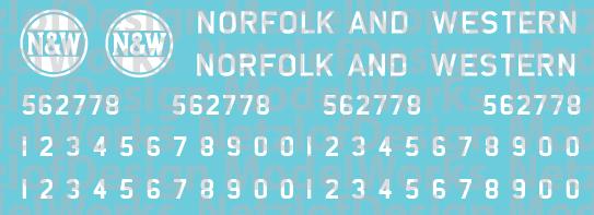 Norfolk Western C-18 Caboose White Logo Decals ND-941