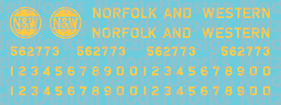 Norfolk Western C-18 Caboose Yellow Logo Decals