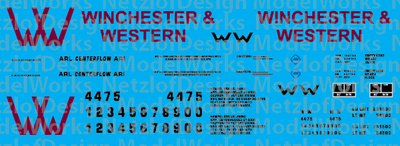Winchester & Western Railroad 2-bay Centerflow Logo Decal Set