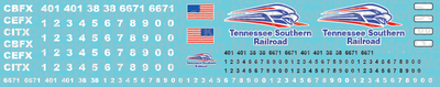 Tennessee Southern Railroad Locomotive Decals
