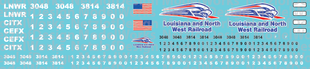 HO Scale - Louisiana & North West Railroad Locomotive Decals