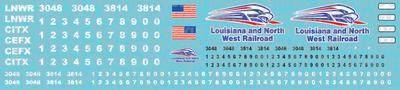Louisiana & North West Railroad Locomotive Decals