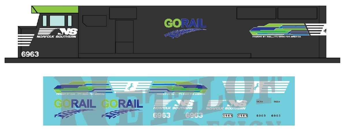 HO Scale - Norfolk Southern SD60E Decal Set - GO Rail NS 6963