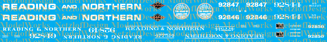 HO Scale - Reading Blue Mountain & Northern Caboose Decal Set - RBMN RN Cabin