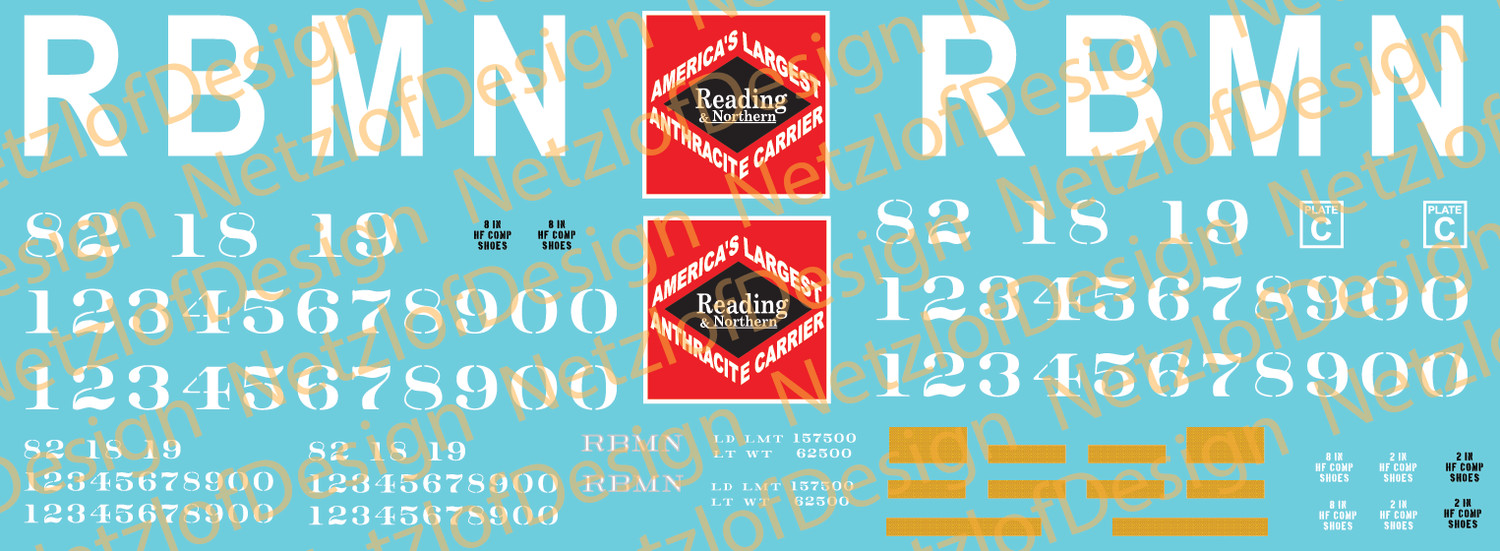 HO Scale - Reading, Blue Mountain & Northern Box Car Decal Set