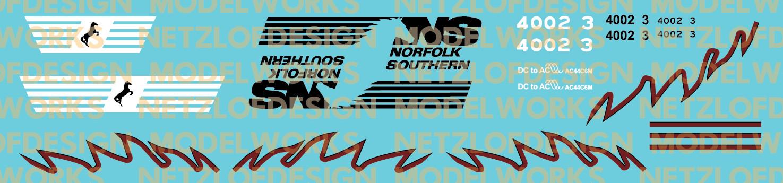 Black//Maroon Norfolk Southern AC44C6M Decal Set 4002//4003 N Scale