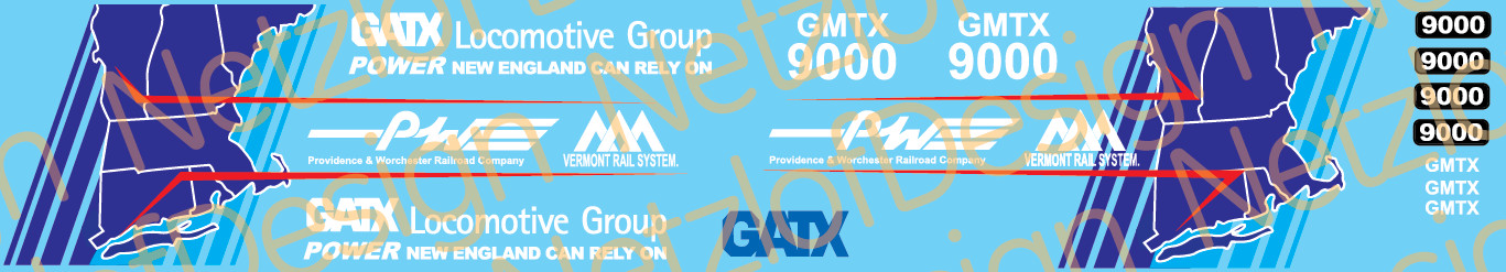 HO Scale - Providence and Worcester/VRR GMTX9000 SD60 Decals