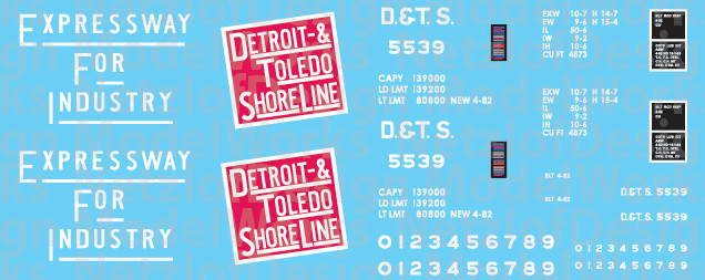 N Scale - Detroit, Toledo and Shore Line 50' Box Car Decals