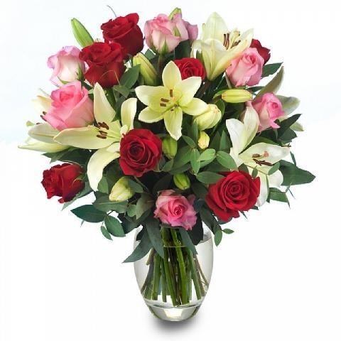 ROSE rosse e rosa e GIGLI bianchi+ verde decorativo