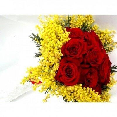 9 rose rosse e mimosa