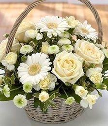 CESTINO WHITE ROSE&FLOWERS / WHITE ROSES&FLOWERS BASKET