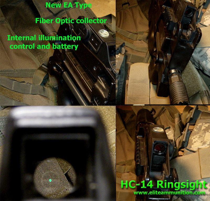 Ring Sights HC-14 P90/PS90 Green Fiber Optic Internal Illumination  W/Aluminum Housing