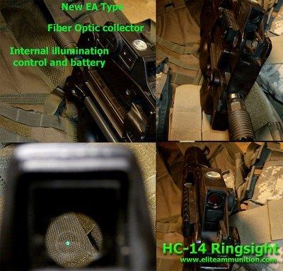NO LONGER AVAILABLE Ring Sights HC-14 P90/PS90 Green Fiber Optic Internal Illumination  W/Aluminum Housing