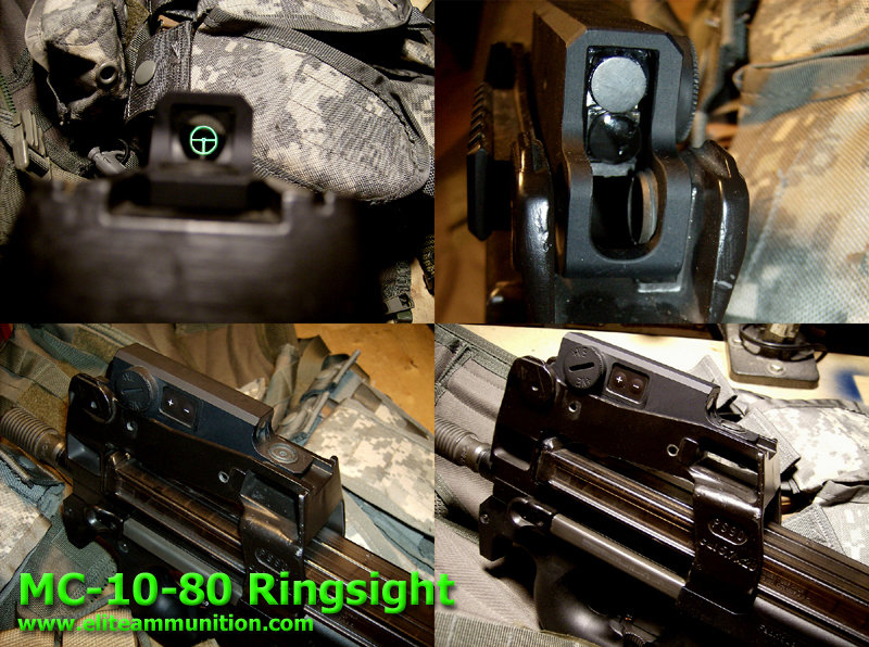 Ring Sights MC-10-80 Black Reticule, Green Illuminated USSG Reticule, Battery powered  Ring Sight with Internal illumination W/Aluminum Housing