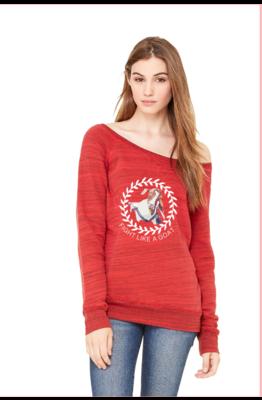 Fight Like a Goat BELLA+CANVAS Women's Sponge Fleece Wide Neck Sweatshirt