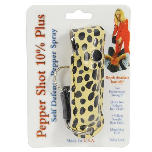 Pepper Shot 1/2 oz fashion leatherette holster and Quick Release Key Chain cheetah black/yellow