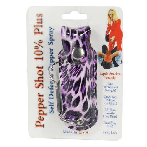 Pepper Shot 1/2 oz fashion leatherette holster and Quick Release Key Chain leopard black/purple