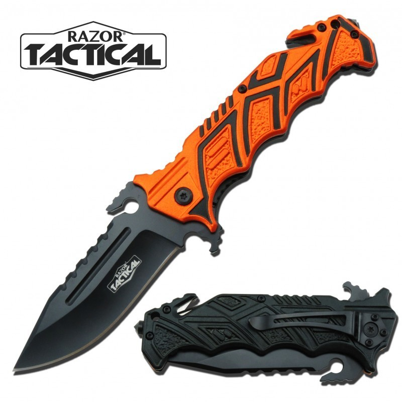 TACTICAL KNIFE W/ METAL HANDLE ORANGE