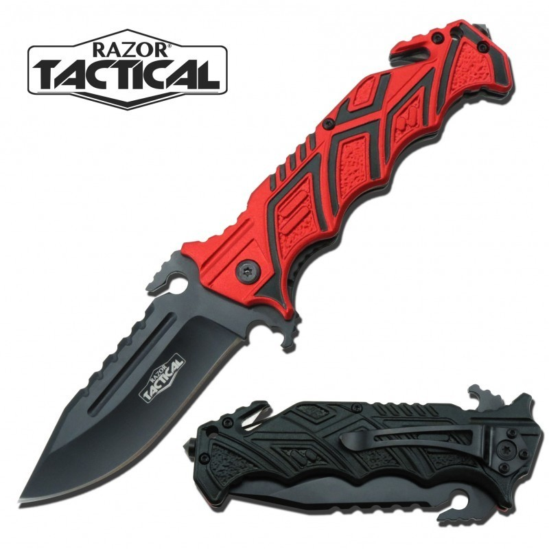 TACTICAL KNIFE W/ METAL HANDLE RED