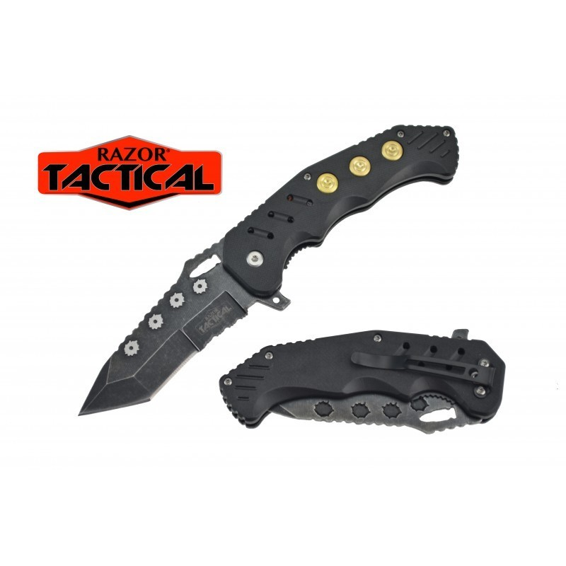 SPRING ASSISTED KNIFE W/ABS HANDLE, 4.5 CLOSED BLACK