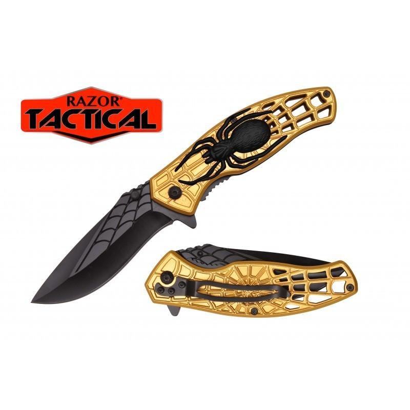 GOLD SPIDER KNIFE W/ METAL HANDLE GOLD/BLACK