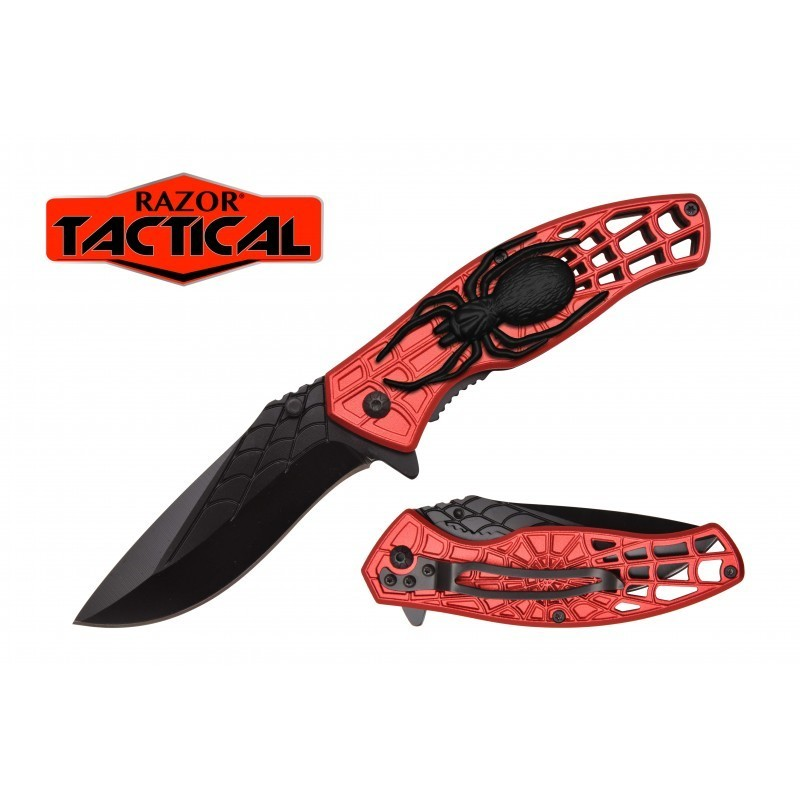 RED SPIDER KNIFE W/ METAL HANDLE RED/BLACK