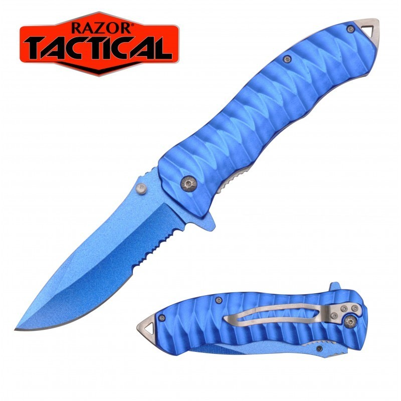 BLUE KNIFE W/ METAL HANDLE