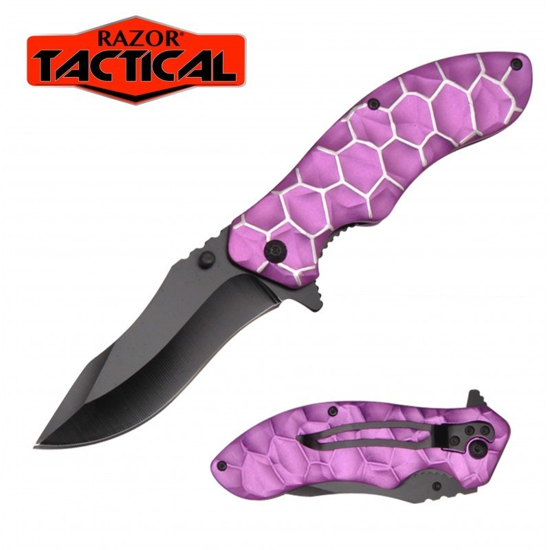 PURPLE HONEY COMB KNIFE W/ METAL HANDLE