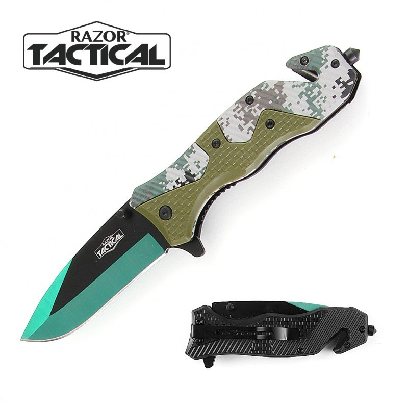GREEN CAMO KNIFE W/ ABS HANDLE