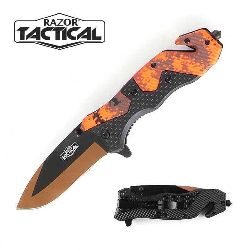ORANGE CAMO KNIFE W/ ABS HANDLE