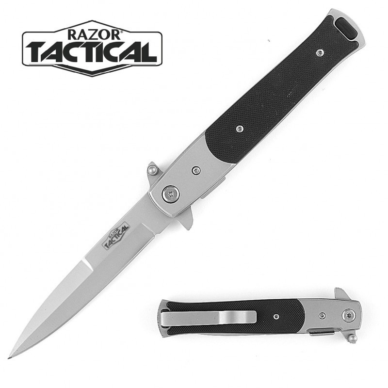 5 CLOSED BLACK STILETTO STYLE QUICK ASSIST KNIFE