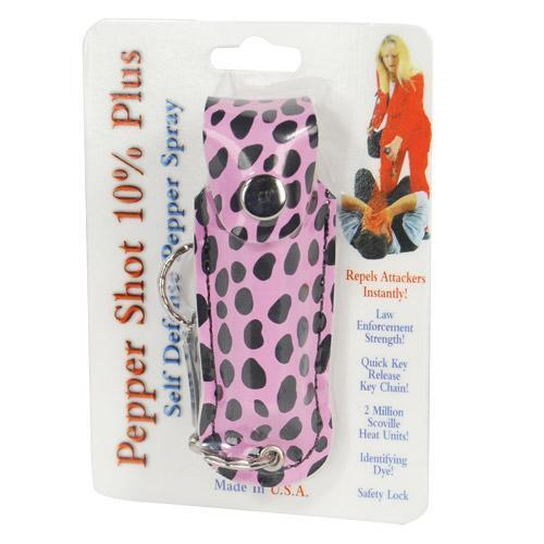 Pepper Shot 1/2 oz fashion leatherette holster and Quick Release Key Chain cheetah black/pink