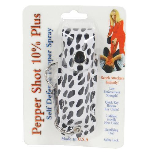 Pepper Shot 1/2 oz fashion leatherette holster and Quick Release Key Chain cheetah black/white