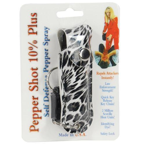 Pepper Shot 1/2 oz fashion leatherette holster and Quick Release Key Chain leopard black/white
