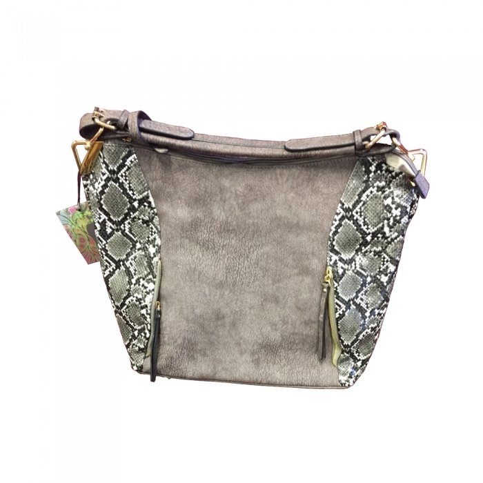 Reptic Concealed Carry Purse w/Accent: Grey & Brown