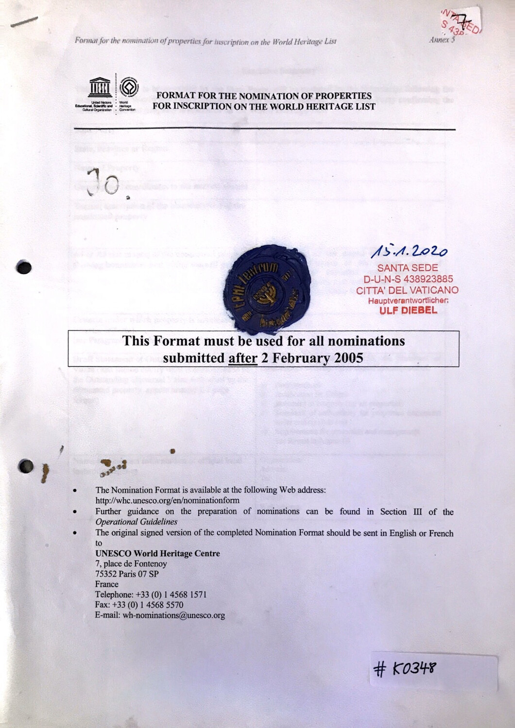 #0348 l Format For The Nomination Of Properties For Inscription On The World Heritage List
