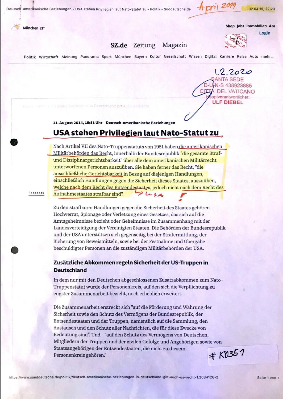 "#K0351 l ""USA stehen Privilegien laut Nato-Statut zu"" l Sz.de"