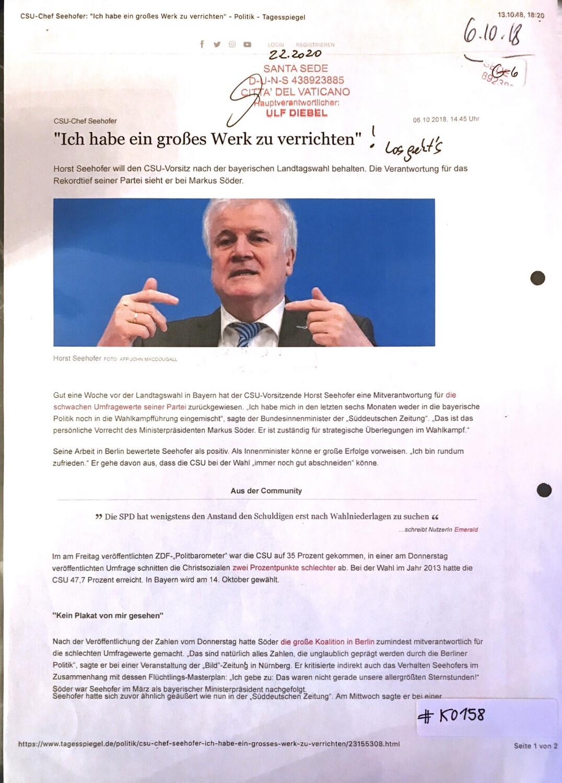 """#K0158 l Tagesspiegel - """"Ich habe ein großes Werk zu verrichten!"""" - CSU-Chef Horst Seehofer l Santa Sede, Hauptverantwortlicher Ulf Diebel"""