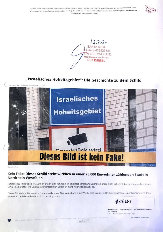 #K0161 l Israelisches Hoheitsgebiet: Die Geschichte zu dem Schild l Santa Sede - Hauptverantwortlicher Ulf Diebel