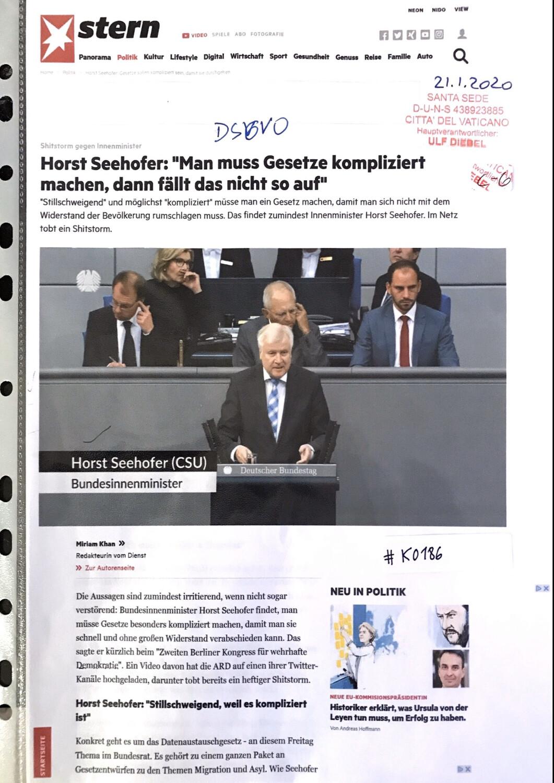"#K0186 l Stern - Horst Seehofer: ""Man muss Gesetze kompliziert machen, dann fällt das nicht so auf"""